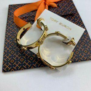 NEW Tory Burch Milgrain Gold Hoop Earrings